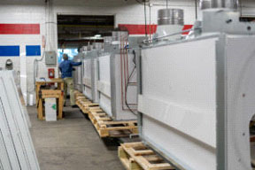 fume hoods rolling out of plant