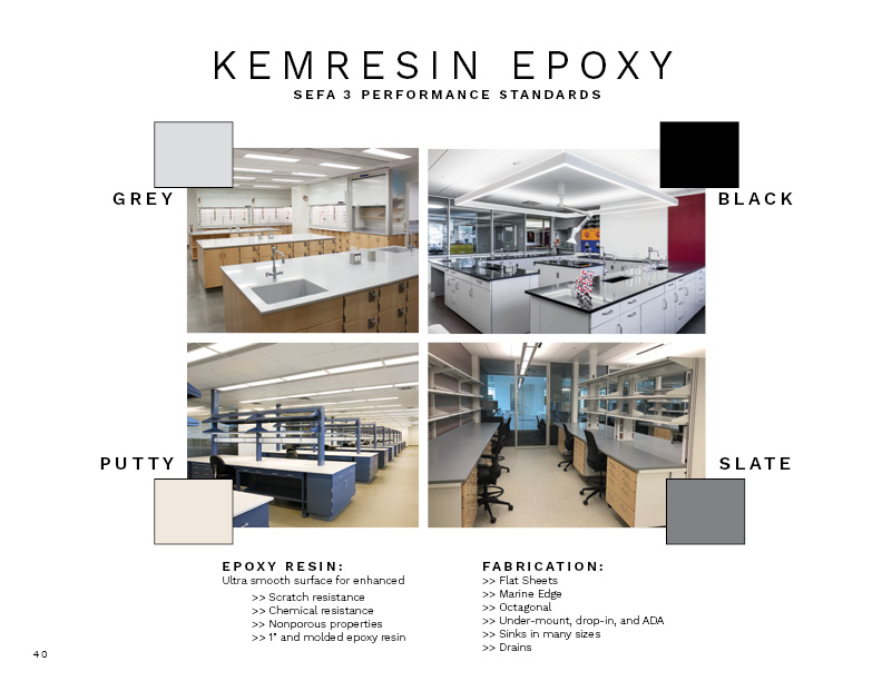 Page from lookbook on kemresin with colors and associated labs