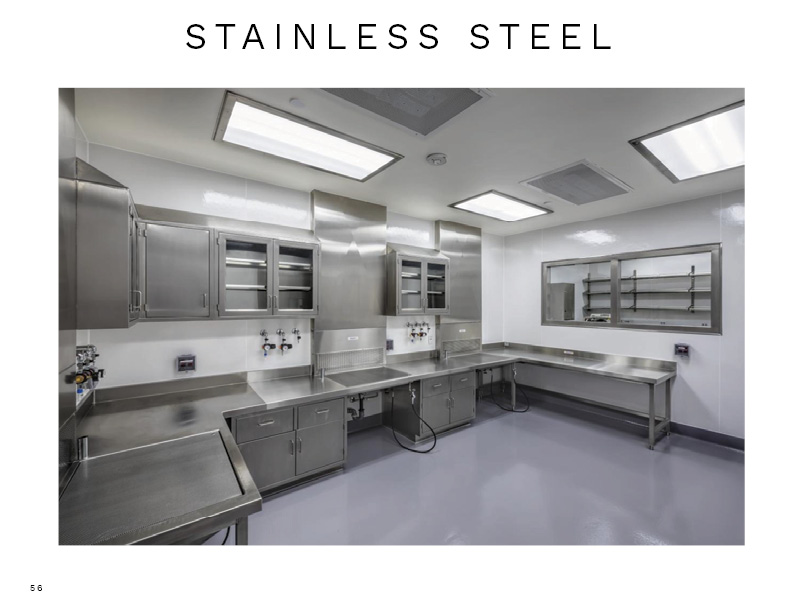 Photo with the caption stainless steel of a stainless steel lab