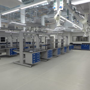 lab with blue casework